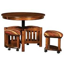 Round Coffee Table With Stools Underneath by Amish Mission Round Coffee Table And Stool Set With Hydraulic Lift