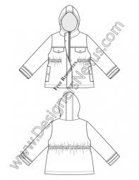 019 Hooded Rain Coat Kids Toddler Flat Fashion Sketch