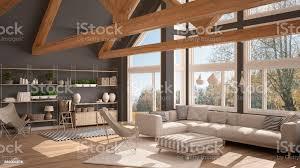 wohnzimmer luxusökohaus parkettboden und hölzernen dachstühle panoramafenster auf herbst wiese moderne weiße und graue innenausstattung stockfoto und