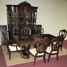 Dining Room Set China Cabinet Double Pedestal Table 6 Chairs By Sets With And Buffet