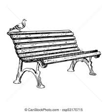 Park bench engraving vector illustration Park bench and vector