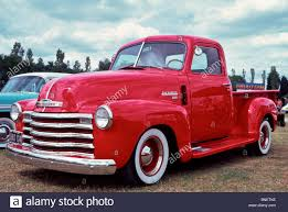 100 1950 Chevrolet Truck Stepside Pick Up Truck In Bright Red Stock Photo