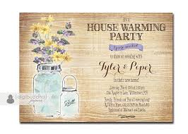 Mason Jar Housewarming Invitation Rustic Wood Watercolor