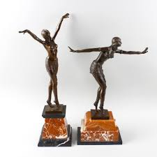 deco figurines reproductions two large reproduction deco style bronze figures of dancers