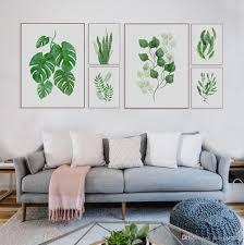 großhandel moderne aquarell tropical leaf poster leinwand floral grüne pflanze kunstdrucke wohnzimmer küche wand fotos gemälde wohnkultur kein rahmen