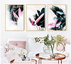 moderne nordische grün rosa blatt leinwand druckt kunst