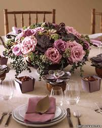 Rose Centerpiece Table Arrangements For Your Wedding In Romantic Purple And Blue