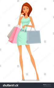 beautiful cartoon summer dress shopping stock vector