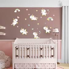 autocollant chambre bébé sticker 6 licornes bébés stickers chambre enfants filles