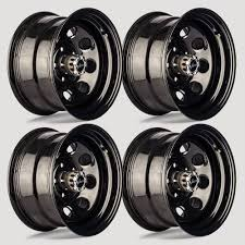 100 16 Truck Wheels Set 4 Vision 85 Soft 8 Gloss Black Steel Wheel X8 6x55 6 Lug