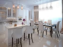 die küche und esszimmer in einem klassischen stil die weiße farbe und chernomom mit bar und barhocker 3d übertragen