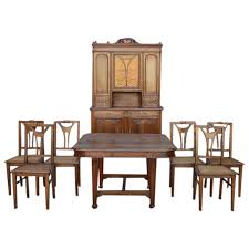 French Art Nouveau Dining Room Set In Walnut Circa 1900