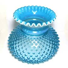 Fenton Blue Fairy Lamp by Fenton Blue Opalescent Hobnail Art Glass Gone With The Wind