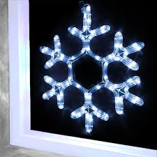 Snowflake Window Silhouette Rope Light 24 Bright White LEDs Indoor