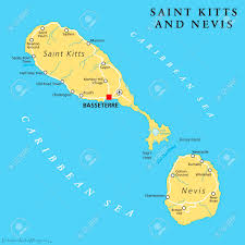 Saint Kitts And Nevis Political Map With Capital Basseterre Is A Twoisland Country In The West