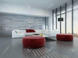 moderne zeitgenössische wohnzimmer interieur mit weißen mit roten kissen und hocker