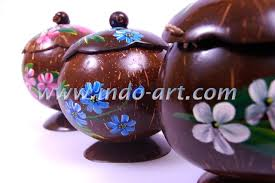 Coconut Shell Craft Candy Jars Painting 1