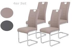 4er set esszimmerstuhl ruby kunstleder cappuccino metallgestell verchromt bügelgriff höhere belastbarkeit 140kg