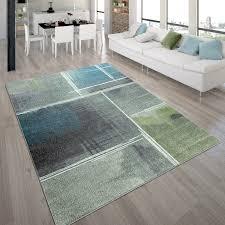 wohnzimmer teppich kurzflor teppich mit viereck muster farbverlauf in bunt