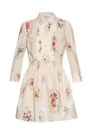 red valentino smocked detail floral print dress in white lyst