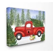 100 Tres Truck Stupell Industries 24 In X 30 InHoliday Christmas Tree Lane Red