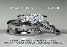 3 piece Wedding Set Hand stamped Stainless Steel & CZ Sapphire
