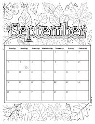 Added August 24 Fall Leaves Will Be Falling Before We Know It Get Ready For Natures Colorful Landscape With This Months Colorable Calendar PDF And