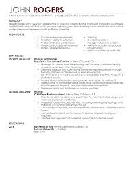 Example Of A Server Resume Examples Fine Dining Snapshot Host Hostess Food And Restaurant Template Position