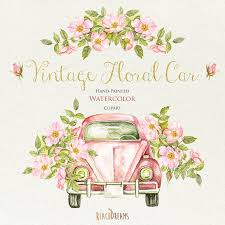 Watercolor Vintage Floral Car With Rustic Roses Wedding Invite Greeting Card DIY Clipart Romantic Bouquets Hand Painted Retro Auto