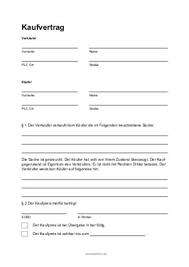formular kaufvertrag für eine gebrauchte sache unter