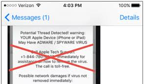 A Virus on Your iPhone a Tech Support Scam