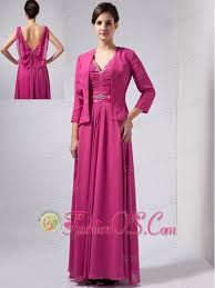 Beautiful Hot Pink Column Mother Of The Bride Dress V Neck Ankle Length Chiffon