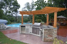 Wooden Patio Bar Ideas by L Shaped Outdoor Kitchen Ideas Light Brown Tile Backsplash Making