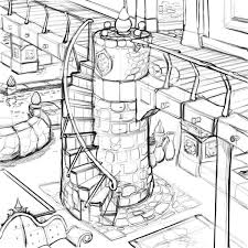 Doodle Of Some Castleish Interior Drawing Sketch