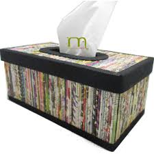 Newspaper Boxes Black Kleenex Tissue Box Cover Handmade Upcycled