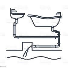 dünne linie symbol badezimmer armatur waschtisch kanalisation wasserleitungen stock vektor und mehr bilder abwasser