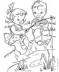 Summer Fishing Coloring Page