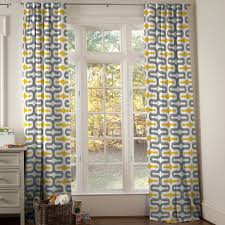 geometric yellow and gray curtain for french window treatment
