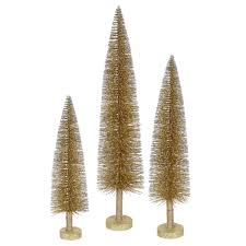 Artificial Christmas Tree Unlit by Set Of 3 Metallic Gold Glitter Artificial Mini Village Christmas