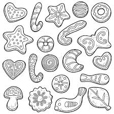 Download Collection Cookies Vector Black And White Set Stock Vector Image