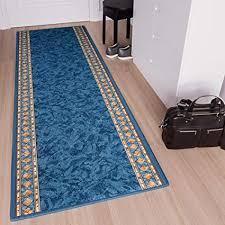 tapiso anti rutsch teppich läufer rutschfest brücke meterware blau gelb ornament design meliert flur küche wohnzimmer 80 x 200 cm