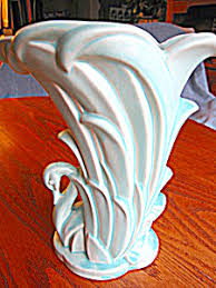 Vintage McCoy Aqua Swan Vase McCoy Pottery at More Than McCoy