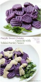 Pumpkin Gnocchi Recipe Uk by Purple Sweet Potato Gnocchi With Tahini Parsley Sauce Pm2 Jpg