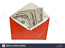 Envelope with US dollar bills isolated on 100% white background