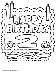 Full Image For Birthday Cake Two Years Old Color Page Holiday Coloring Pages