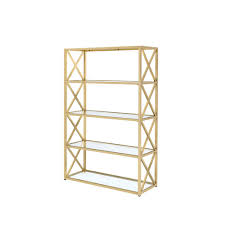 ACME Furniture Milavera ETagere Clear Glass and Gold Bookcase