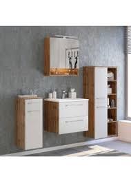 design badezimmer set in weiß und wildeiche optik led