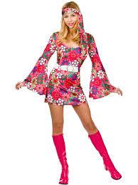 Ladies 60s 70s Retro Go Girl Hippy Hippie Mini Fancy Dress Costume S M L XL