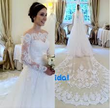 discount 2016 lace wedding dresses without veil illusion long