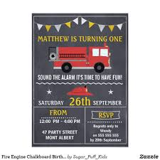 Fire Engine Chalkboard Birthday Party Invitation | Star Banner ...